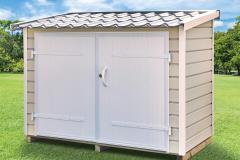 Abri-PVC-Clairval-range-tout-2m2-toit-monopente-coloris-sand
